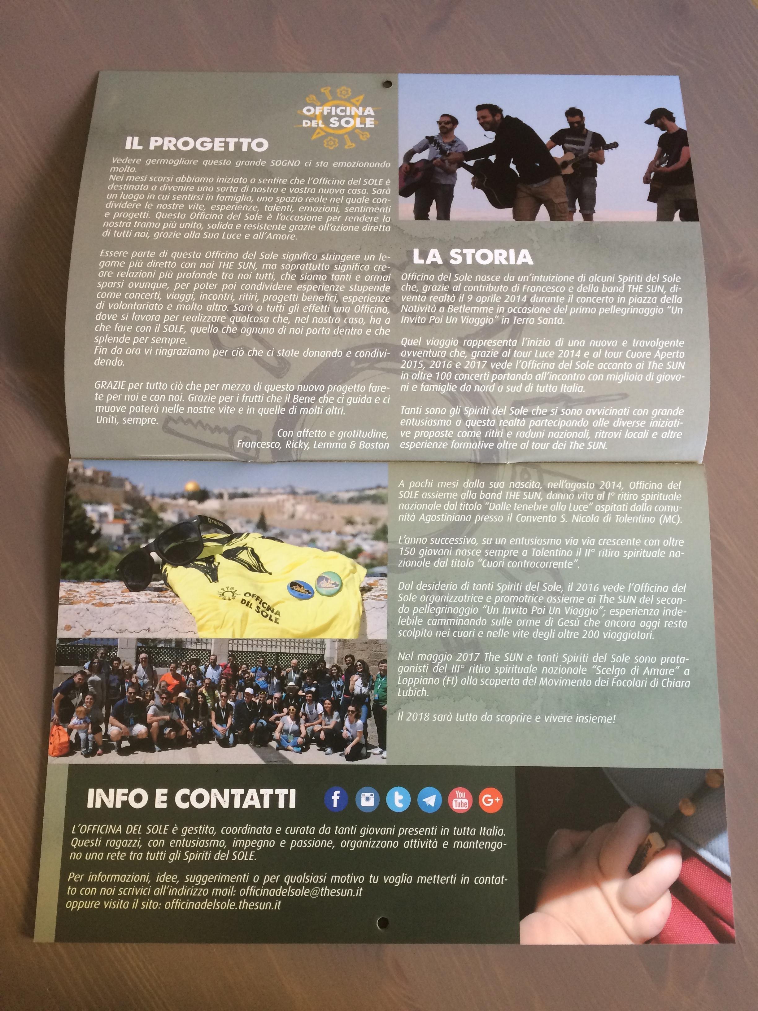 Storia e Progetto Officina del SOLE calendario 2018 officina del sole fan club the sun music band